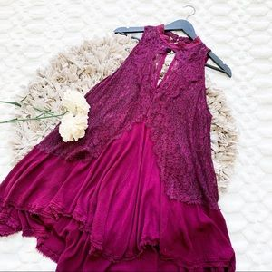 Free People Tell Tale Heart Lace Tunic in Berry